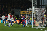23rd November 2019; Selhurst Park, London, England; English Premier League Football, Crystal Palace versus Liverpool; James Tomkins of Crystal Palace scores but the goal is disallowed after a VAR review - Strictly Editorial Use Only. No use with unauthorized audio, video, data, fixture lists, club/league logos or 'live' services. Online in-match use limited to 120 images, no video emulation. No use in betting, games or single club/league/player publications