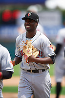 Indianapolis Indians second baseman Alen Hanson (7) after a game against the Rochester Red Wings on May 26, 2016 at Frontier Field in Rochester, New York.  Indianapolis defeated Rochester 5-2.  (Mike Janes/Four Seam Images)
