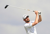 Damien Ulrich (SUI) on the 1st tee during Round 1 of the Challenge de Madrid, a Challenge  Tour event in El Encin Golf Club, Madrid on Wednesday 22nd April 2015.<br /> Picture:  Thos Caffrey / www.golffile.ie