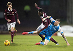 St Johnstone v Hearts&hellip;23.12.17&hellip;  McDiarmid Park&hellip;  SPFL<br />Prince Buaben and Denny Johnstone<br />Picture by Graeme Hart. <br />Copyright Perthshire Picture Agency<br />Tel: 01738 623350  Mobile: 07990 594431