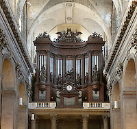 Organ loft, 1776, by Jean Chalgrin, Eglise Saint-Sulpice (St Sulpitius' Church), c.1646-1745, late Baroque church on the Left Bank, Paris, France. The organ, 1781, by Francois-Henri Clicquot, was reconstructed, 1862, by Aristide Cavaille-Coll. Picture by Manuel Cohen