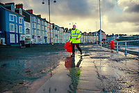 2016 02 09 Clean up operation after storm Imogen,Aberystwyth,Wales,UK