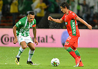 MEDELLÍN-COLOMBIA, 18-04-2019: Aldo Leao Ramírez de Atlético Nacional y Daniel Mantilla de Patriotas Boyacá disputan el balón, durante partido de la fecha 16 entre Atlético Nacional y Patriotas Boyacá, por la Liga Águila I 2019, jugado en el estadio Atanasio Gigardot de la ciudad de Medellín. / Aldo Leao Ramirez of Atletico Nacional and Daniel Mantilla of Patriotas Boyaca vies for the ball, during a match of the 16th date between Atletico Nacional and Patriotas Boyaca, for the Aguila Leguaje I 2019 played at the Atanasio Girardot Stadium in Medellin city. / Photo: VizzorImage / León Monsalve / Cont.