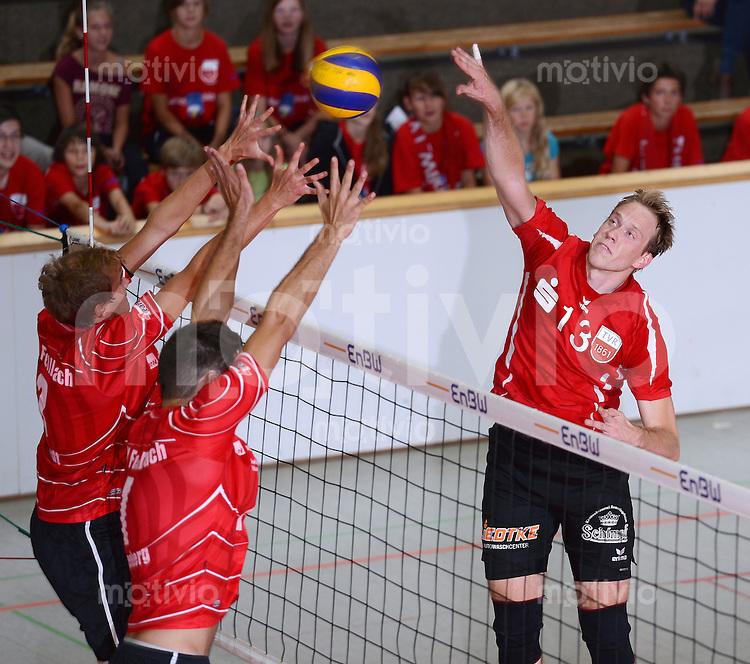 Volleyball 1. Bundesliga  Saison  2012/2013  05.09.2012 TV Rottenburg  - SV Fellbach Markus Pielmeier (re, TV Rottenburg)