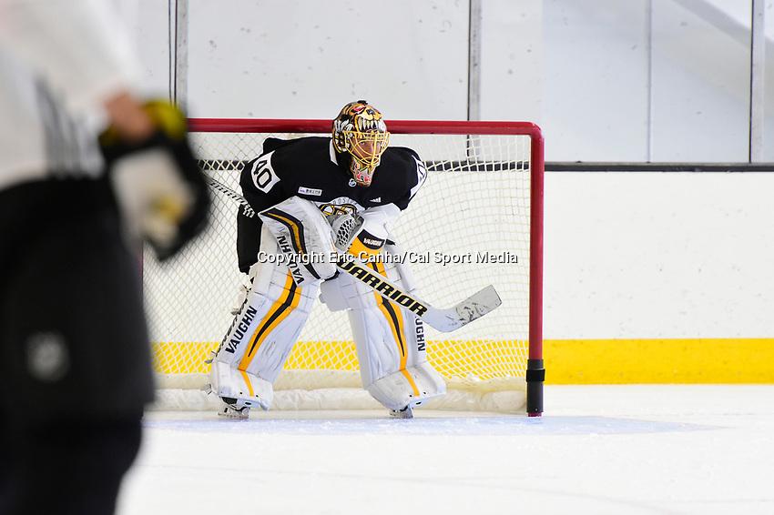 September 15, 2017: Boston Bruins goalie Tuukka Rask (40) minds the net during the Boston Bruins training camp held at Warrior Ice Arena in Brighton, Massachusetts. Eric Canha/CSM