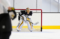 September 15, 2017: Boston Bruins goalie Tuukka Rask (40) minds the net during the Boston Bruins training camp held at Warrior Ice Arena in Brighton, Massachusetts. Eric Canha/CSM
