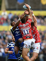 Semesa Rokoduguni of Bath Rugby competes with Matt Banahan of Gloucester Rugby for the ball in the air. Gallagher Premiership match, between Bath Rugby and Gloucester Rugby on September 8, 2018 at the Recreation Ground in Bath, England. Photo by: Patrick Khachfe / Onside Images