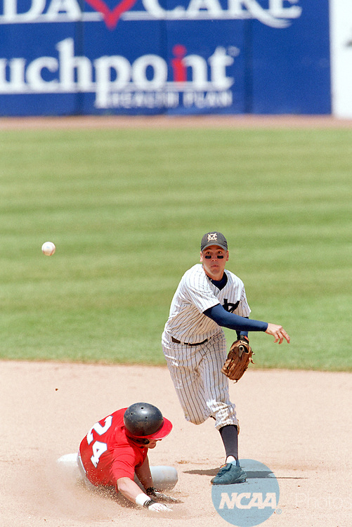 29 MAY 2000: Todd Timmer of Marietta College throws for a double play while Scott Clark of Montclair State University during the semifinal game of the 2001 NCAA Div. 3 Baseball championships held hosted by the University of Wisconsin-Oshkosh at Fox Cities Stadium in Grand Chute, WI.  The University of St. Thomas defeated Marietta College 3-2 to win the national championship.Allen Frederickson/NCAA Photos