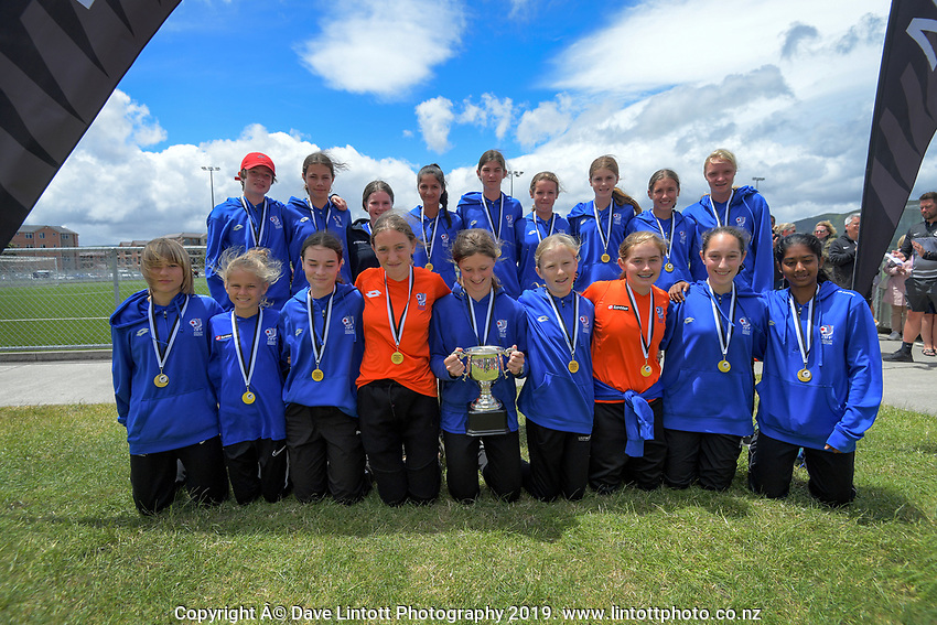 Auckland under-14 girls champions. 2019 National Age Group Tournament football awards ceremony at Memorial Park in Petone, Wellington, New Zealand on Sunday, 15 December 2019. Photo: Dave Lintott / lintottphoto.co.nz