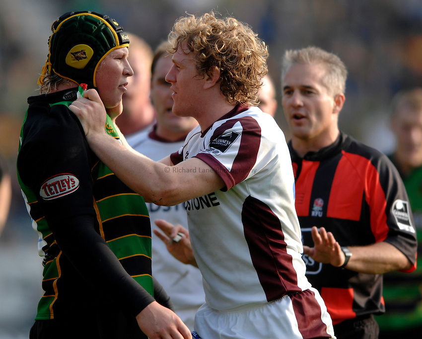 Photo: Richard Lane..Northampton Saints v Leicester Tigers. Guinness Premiership. 14/10/2006. .Tigers' Sam Vesty (rt) squares up to Dylan Hartley after a late tackle.