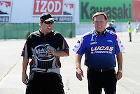 Jul. 18, 2010; Sonoma, CA, USA; NHRA funny car driver Del Worsham (left) with pro stock driver Larry Morgan during the Fram Autolite Nationals at Infineon Raceway. Mandatory Credit: Mark J. Rebilas-