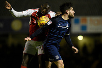 Fleetwod Town's Toumani Diagouraga battles with Southend United's Michael Timlin<br /> <br /> Photographer Hannah Fountain/CameraSport<br /> <br /> The EFL Sky Bet League One - Southend United v Fleetwood Town - Saturday 13th January 2018 - Roots Hall - Southend<br /> <br /> World Copyright &copy; 2018 CameraSport. All rights reserved. 43 Linden Ave. Countesthorpe. Leicester. England. LE8 5PG - Tel: +44 (0) 116 277 4147 - admin@camerasport.com - www.camerasport.com