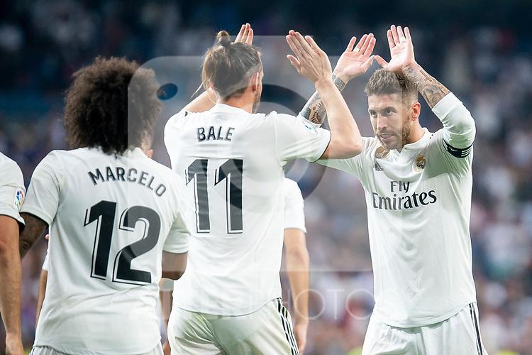 Real Madrid Marcelo, Gareth Bale and Sergio Ramos celebrating a goal during La Liga match between Real Madrid and Getafe CF at Santiago Bernabeu in Madrid, Spain. August 19, 2018. (ALTERPHOTOS/Borja B.Hojas)
