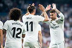 Real Madrid Marcelo, Gareth Bale and Sergio Ramos celebrating a goal during La Liga match between Real Madrid and Getafe CF at Santiago Bernabeu in Madrid, Spain. August 19, 2018. (ALTERPHOTOS/Borja B.Hojas)
