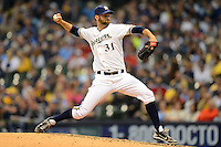 Milwaukee Brewers pitcher Burke Badenhop #31 during a game against the Los Angeles Dodgers at Miller Park on May 22, 2013 in Milwaukee, Wisconsin.  Los Angeles defeated Milwaukee 9-2.  (Mike Janes/Four Seam Images)