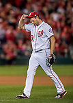 13 October 2016: Washington Nationals starting pitcher Max Scherzer leaves the mound during Game 5 of the NLDS against the Los Angeles Dodgers at Nationals Park in Washington, DC. The Dodgers edged out the Nationals 4-3, to take Game 5 of the Series, 3 games to 2, and move on to the National League Championship Series against the Chicago Cubs. Mandatory Credit: Ed Wolfstein Photo *** RAW (NEF) Image File Available ***
