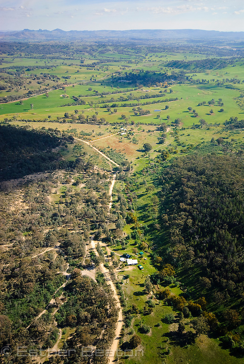 Aerial view of revegetated corridors, Box Gum woodlands, Annandayle South station, bordering Woomargama National Park, near Albury, New South Wales, Australia