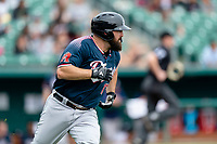 Reno Aces Cody Decker (17) hustles towards first base after hitting a single during a game against the Fresno Grizzlies at Chukchansi Park on April 8, 2019 in Fresno, California. Fresno defeated Reno 7-6. (Zachary Lucy/Four Seam Images)