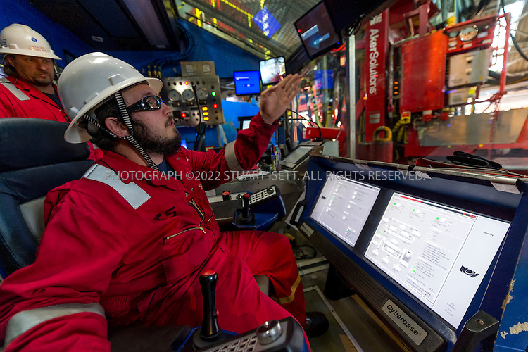 6/8/2015&mdash;Seattle, WA, USA<br /> <br /> Trevor Smith, a Shell driller, sits in the driller&rsquo;s chair on the rig floor of the Polar Pioneer oil rig. The crew was performing regular maintenance of the rig prior to its departure for the Chukchi Sea near Alaska in the arctic.<br /> <br /> The Polar Pioneer offshore oil rig is currently parked at Seattle&rsquo;s Terminal 5 at the Port of Seattle. The rig arrived in the city on May, 14th, 2015 and immediately drew protest groups as well as resistance from city, county and state leaders concerned over the rig&rsquo;s planned arctic oil exploration and the impact of arctic oil drilling on climate change. Shell hopes to berth equipment in Seattle during the off-season of oil exploration in Alaskan waters of the Arctic.<br /> <br /> When the Polar Pioneer arrived in Seattle it was met by activists paddling out in kayaks, so-called &ldquo;kayaktivists&rdquo;,  who along with Greenpeace and other loosely aligned groups plans protests all summer in the city until the rig leaves.<br /> <br /> Photograph by Stuart Isett for The Wall Street Journal<br /> &copy;2015 Stuart Isett. All rights reserved.<br /> Slug: ARCTIBET