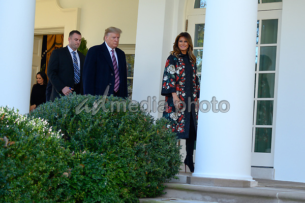 United States President Donald J. Trump and first lady Melania Trump introduce Conan, the United States Army dog that assisted in the raid that killed ISIS leader Abu Bakr al-Baghdadi, in the Rose Garden of the White House. Credit: Erin Scott / CNP/AdMedia