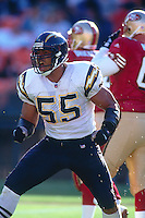 SAN FRANCISCO, CA - Junior Seau of the San Diego Chargers in action during a game against the San Francisco 49ers at Candlestick Park in San Francisco, California in on August 11, 1999. Photo by Brad Mangin