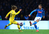 25th February 2020; Stadio San Paolo, Naples, Campania, Italy; UEFA Champions League Football, Napoli versus Barcelona; Fabian Ruiz of Napoli clears the ball from Griezmann of Barca