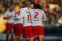 Luke Freeman of Stevenage (15) celebrates with team-mates after scoring their first goal.Rochdale v Stevenage - npower League 1 - Spotland, Rochdale - 14th January, 2012.© Kevin Coleman 2012