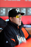 Miami Marlins manager Mike Redmond #11 during a game against the Cincinnati Reds at Great American Ball Park on April 20, 2013 in Cincinnati, Ohio.  Cincinnati defeated Miami 3-2 in 13 innings.  (Mike Janes/Four Seam Images)