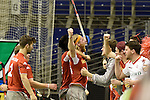 Berlin, Germany, January 31: Julian Hofmann-Jeckel #24 of Club an der Alster is celebrated by teammates and fans after scoring during the 1. Bundesliga Herren Hallensaison 2014/15 semi-final hockey match between Rot-Weiss Koeln (dark blue) and Club an der Alster (red) on January 31, 2015 at the Final Four tournament at Max-Schmeling-Halle in Berlin, Germany. Final score 4-3 (2-2). (Photo by Dirk Markgraf / www.265-images.com) *** Local caption ***