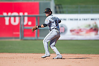 Salt River Rafters second baseman Bryson Brigman (15), of the Miami Marlins organization, prepares to make a throw to first base during an Arizona Fall League game against the Surprise Saguaros on October 9, 2018 at Surprise Stadium in Surprise, Arizona. The Rafters defeated the Saguaros 10-8. (Zachary Lucy/Four Seam Images)