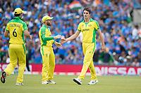 David Warner (Australia) congratulates Pat Cummins (Australia) on the wicket of Hardik Pandya (India) during India vs Australia, ICC World Cup Cricket at The Oval on 9th June 2019