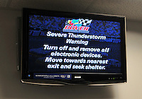 May 31, 2008; Dover, DE, USA; A severe weather warning is displayed around the track during practice for the Best Buy 400 at the Dover International Speedway. Mandatory Credit: Mark J. Rebilas-US PRESSWIRE