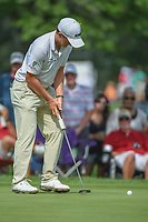 Paul Dunne (IRL) watches his putt on 2 during 2nd round of the World Golf Championships - Bridgestone Invitational, at the Firestone Country Club, Akron, Ohio. 8/3/2018.<br />