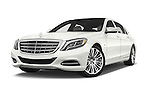 Stock pictures of low aggressive front three quarter view of2016 Mercedes Benz S Class May Bach 4 Door Sedan Low Aggressive