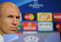 Calcio, Champions League: il calciatore del Bayern Monaco Arjen Robben durante la conferenza stampa alla vigilia dell'andata degli ottavi di finale di Champions League contro la Juventus, a Torino, 22 febbraio 2016. <br /> Bayern's Arjen Robben attends a press conference ahead of the Champions League first leg round of 16 football match against Juventus, in Turin, 22 February 2016.<br /> UPDATE IMAGES PRESS/Stringer