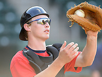 April 24, 2008: Catcher Beau Seabury (24) of the Asheville Tourists, Class A affiliate of the Colorado Rockies, prior to a game against the Greenville Drive at Fluor Field at the West End in Greenville, S.C. Photo by:  Tom Priddy/Four Seam Images