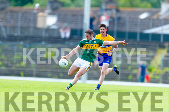 Stephen O'Brien Kerry in action against  Clare during the Munster GAA Football Senior Championship semi-final match between Kerry and Clare at Fitzgerald Stadium in Killarney on Sunday.