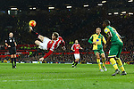 Wayne Rooney of Manchester United tries an athletic shot on goal - Manchester United vs Norwich City - Barclays Premier League - Old Trafford - Manchester - 19/12/2015 Pic Philip Oldham/SportImage