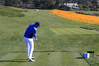 Jordan Spieth (USA) tees off the 8th tee during Sunday's Final Round of the 2018 AT&amp;T Pebble Beach Pro-Am, held on Pebble Beach Golf Course, Monterey,  California, USA. 11th February 2018.<br /> Picture: Eoin Clarke | Golffile<br /> <br /> <br /> All photos usage must carry mandatory copyright credit (&copy; Golffile | Eoin Clarke)