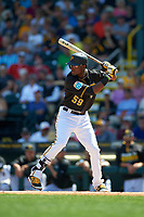 Pittsburgh Pirates second baseman Alen Hanson (59) at bat during a Spring Training game against the Boston Red Sox on March 9, 2016 at McKechnie Field in Bradenton, Florida.  Boston defeated Pittsburgh 6-2.  (Mike Janes/Four Seam Images)