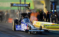 May 18, 2012; Topeka, KS, USA: NHRA top fuel dragster driver Antron Brown during qualifying for the Summer Nationals at Heartland Park Topeka. Mandatory Credit: Mark J. Rebilas-