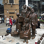 Frank Meisler bronze memorial sculpture Children of the Kindertransport, Hope Square, Liverpool Street station, London, England