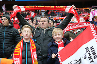 Liverpool fans ahead of the Capital One Cup match between Liverpool and Manchester City at Wembley Stadium, London, England on 28 February 2016. Photo by David Horn / PRiME Media Images.