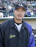 July 24, 2004:  Pitcher Jung Keun Bong of the Louisville Bats, Triple-A International League affiliate of the Cincinnati Reds, during a game at Frontier Field in Rochester, NY.  Photo by:  Mike Janes/Four Seam Images