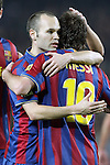 Football Season 2009-2010. Barcelona players Andres Iniesta and  Lionel Messi celebrating a goal during their spanish liga soccer match at Camp Nou stadium in Barcelona. January 16, 2010.