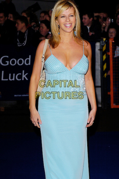 KATE GARRAWAY.National Television Awards 2005 at the Royal Albert Hall. London, UK.October 25th 2005.Ref: CAP/JH.3/4 length pregnant blue turquoise straps strappy dress plunginh neckline cleavage.www.capitalpictures.com.sales@capitalpictures.com.© Copyright 2005 Adrian Seal, Photoscene.biz Midtownstudios 50 Acton Mews,London E84EA Tel:07973673832.