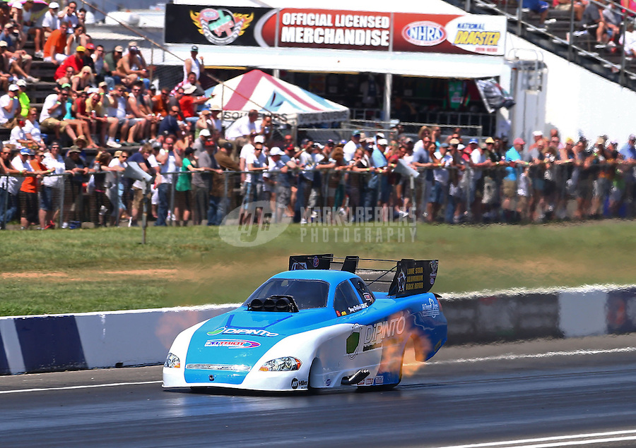 Jun. 1, 2013; Englishtown, NJ, USA: NHRA funny car driver Terry Haddock during qualifying for the Summer Nationals at Raceway Park. Mandatory Credit: Mark J. Rebilas-