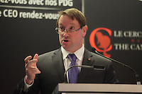 Montreal, CANADA February 23, 2015 -<br /> <br /> Louis Vachon, President & CEO of the National Bank, deliver a speech to the Canadian Club of Montreal, February 23, 2015.<br /> <br /> Photo : Agence Quebec Presse - Pierre Roussel