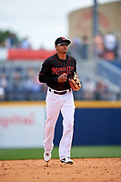 Nashville Sounds center fielder Kenny Wilson (11) jogs back to the dugout during a game against the New Orleans Baby Cakes on May 1, 2017 at First Tennessee Park in Nashville, Tennessee.  Nashville defeated New Orleans 6-4.  (Mike Janes/Four Seam Images)