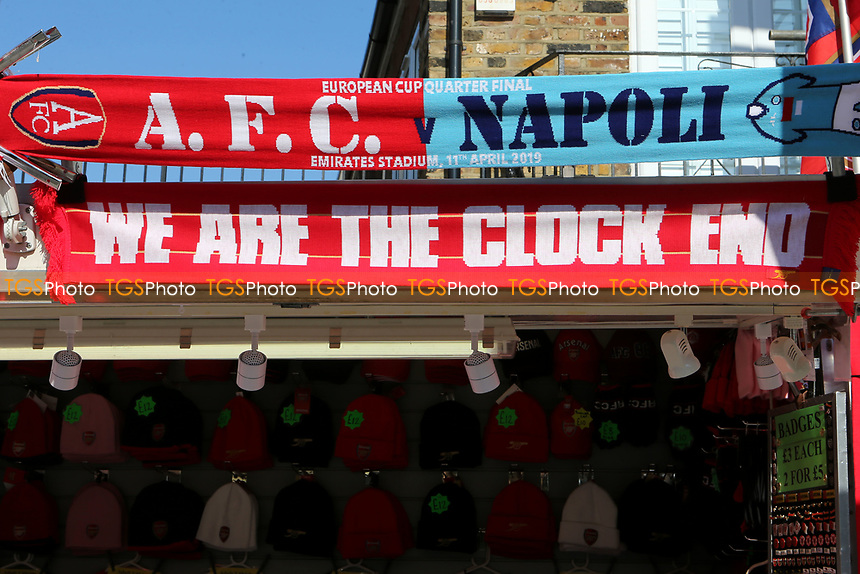 Arsenal v Napoli scarves for sale on the market stalls near the ground during Arsenal vs Napoli, UEFA Europa League Football at the Emirates Stadium on 11th April 2019